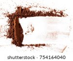 pile cocoa powder isolated on... | Shutterstock . vector #754164040