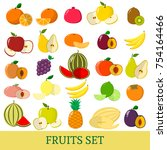 a set of fruits . organic... | Shutterstock . vector #754164466
