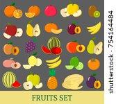 a set of fruits . organic... | Shutterstock . vector #754164484