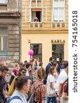 zagreb  croatia   june 11  2016 ... | Shutterstock . vector #754165018