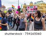 zagreb  croatia   june 11  2016 ... | Shutterstock . vector #754165060