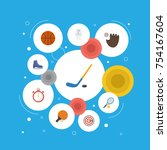 flat activity icons with ice... | Shutterstock .eps vector #754167604