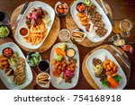 top view of a wooden table full ... | Shutterstock . vector #754168918