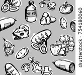 seamless pattern of food ... | Shutterstock .eps vector #754180060