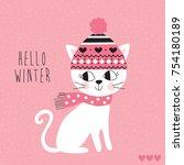 hello winter cat in hat vector... | Shutterstock .eps vector #754180189