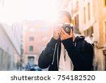sun flare sunset photo of male... | Shutterstock . vector #754182520