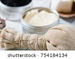 organic skin care butters from  ... | Shutterstock . vector #754184134