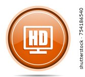 hd display orange round web and ... | Shutterstock .eps vector #754186540