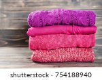stack of warm knitting clothing ... | Shutterstock . vector #754188940
