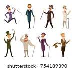set of english victorian... | Shutterstock .eps vector #754189390