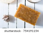 organic soap on white wooden | Shutterstock . vector #754191154