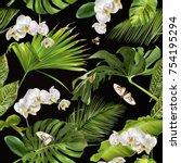 vector botanical seamless... | Shutterstock .eps vector #754195294