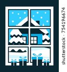 vector gifts in the window and... | Shutterstock .eps vector #754196674
