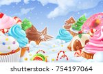 cupcake  fairy cake. winter... | Shutterstock .eps vector #754197064