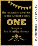 birthday card invitation is... | Shutterstock .eps vector #754197760