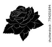 black silhouette roses and...   Shutterstock .eps vector #754201894