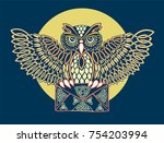 postal patterned owl celtic... | Shutterstock .eps vector #754203994