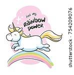 cute cartoon unicorn jumping... | Shutterstock .eps vector #754209076