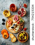 appetizers table with italian... | Shutterstock . vector #754215334