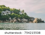 secluded hotel on the beach.... | Shutterstock . vector #754215538