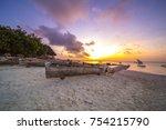 fishing boat on sunset in... | Shutterstock . vector #754215790