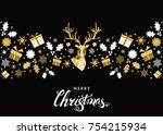 christmas pattern. golden ... | Shutterstock .eps vector #754215934