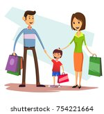 happy family with shopping bags....   Shutterstock .eps vector #754221664