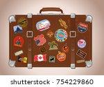 old travel suitcase | Shutterstock . vector #754229860