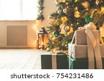 christmas living room with a... | Shutterstock . vector #754231486
