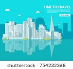 san francisco the downtown with ... | Shutterstock .eps vector #754232368