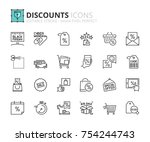 outline icons about discounts....   Shutterstock .eps vector #754244743