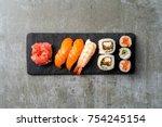 overhead shot of japanese sushi | Shutterstock . vector #754245154