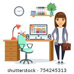 the business concept. the girl... | Shutterstock .eps vector #754245313