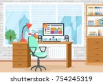 the interior of the office.... | Shutterstock .eps vector #754245319
