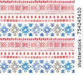 seamless watercolor ethnic... | Shutterstock . vector #754245610