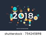 infographic concept 2018 year... | Shutterstock .eps vector #754245898