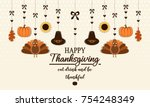 happy thanksgiving card or... | Shutterstock .eps vector #754248349