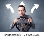 young man holding black... | Shutterstock . vector #754253638