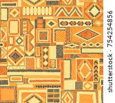 embroidered seamless patchwork...   Shutterstock .eps vector #754254856