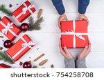 son giving christmas gift to...   Shutterstock . vector #754258708