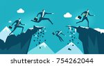 business people jumping over...   Shutterstock .eps vector #754262044