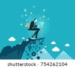 businessmen working on top of... | Shutterstock .eps vector #754262104