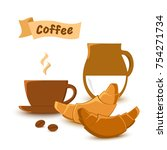 cup coffee and milk  croissant  ... | Shutterstock .eps vector #754271734