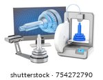 3d scanner  3d printer and... | Shutterstock . vector #754272790
