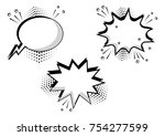 set of black and white speech... | Shutterstock .eps vector #754277599