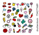 fashion patch badges collection.... | Shutterstock .eps vector #754277689