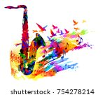 music background with saxophone   Shutterstock .eps vector #754278214