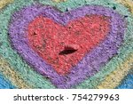 Chalk Drawing  Colorful Hearts...