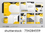 corporate brand identity mockup ... | Shutterstock .eps vector #754284559