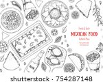 mexican food top view frame. a... | Shutterstock .eps vector #754287148